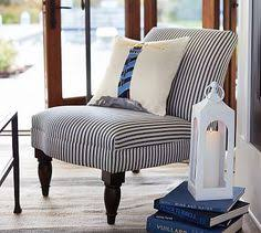 Striped Slipper Chair Carolyn Upholstered Armchair Everyday Value Potterybarn Home