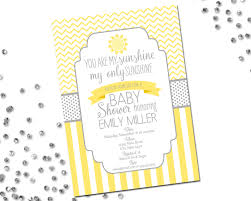 you are my sunshine baby shower invitation yellow and grey