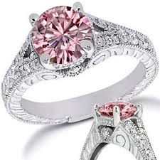 Pink Diamond Wedding Ring by Pink Moissanite Rings Moissaniteco Com