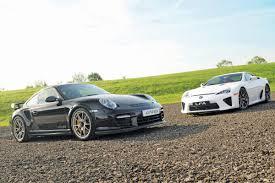lexus lfa vs bmw lexus lfa vs porsche gt2 rs auto express