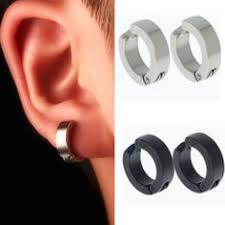 hoop earrings for men men s 4mm stainless steel bronze look black huggie hoop earrings