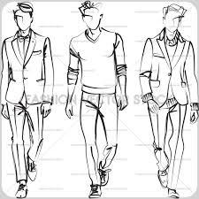 three elegant men fashion vector stock