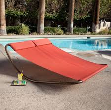 home decoration dazzling red outdoor hammock bed with metal stand