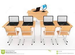 Laptops Desks Modern Classroom Concept School Desks With Laptops In Classroom
