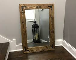 Wood Framed Mirrors For Bathroom by Reclamed Wood Frame Mirror Rustic Wood Mirror Bathroom
