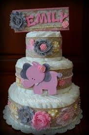 Shabby Chic Baby Shower Cakes by Beautiful Shabby Chic Three Tier Diaper Cake By Jennyknickdesigns