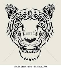 tiger ornament animal drawing with curl ornament vector