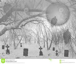 haunted halloween graveyard in woods royalty free stock photo