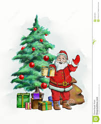 santa claus and christmas trees u2013 happy holidays
