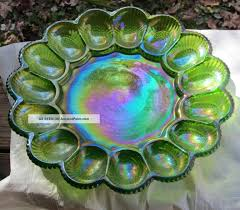 glass egg plate vintage carnival glass lime green hobnail15 oyster deviled egg plate