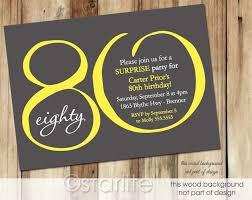 80th birthday invitations 80th birthday invitation yellow gray modern number 80 80th