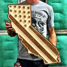 california american flag two tone wood wall country rebel