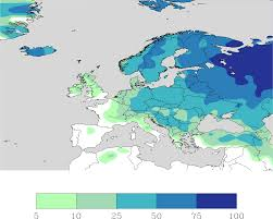 European Weather Map by Chance Of A White Christmas For Europe Maps On The Web