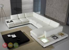 Modern White Top Grain Leather Modular Sectional Sofa Contemporary - Sofa modern