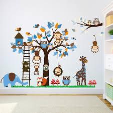 Elephant Wall Decals Nursery by Elecmotive Wall Decor Elecmotive Colorful Multiple Animals Owls