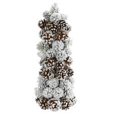 nearly 17 5 in frosted pine cone tree 4183 the home depot