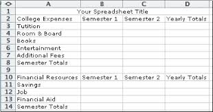 Applications Of Spreadsheet Yhscs Computer Applications I Projects Expenses