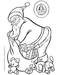 santa claus coloring pages santa unloads bag toys