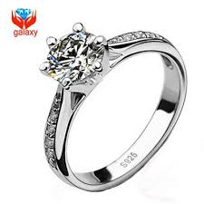 Wedding Rings Women by Real 925 Sterling Silver Wedding Rings For Women Classic 6 Prong
