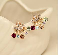 back stud earrings new front back stud earrings white gold color cubic zircon