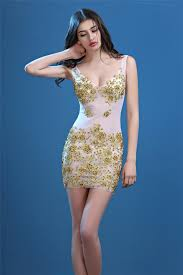 party dress v neck sheer see through tulle gold lace beaded out