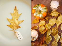 thanksgiving decor idea leaf place cards and metallic pumpkins