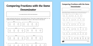 comparing fractions with different denominators activity sheet