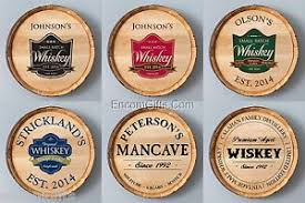 Man Cave Wall Decor Personalized Whiskey Wine Barrel Sign Authentic Oak Wood Bar Man