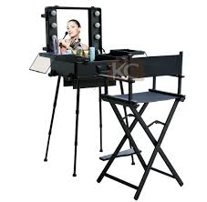 professional makeup lights silver black lightweight portable aluminum metal makeup chair