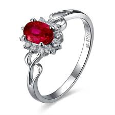 ruby diamond ring ruby and diamond engagement ring on 10k white gold jewelocean
