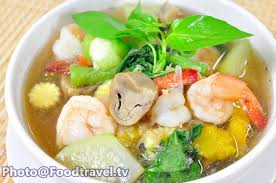 cuisine spicy spicy mixed vegetable soup with prawns แกงเล ยงก ง liang