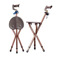 adjustable folding walking cane chair stool massage walking stick