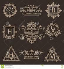 set monogram ornamental logos emblem stock vector image 71678066