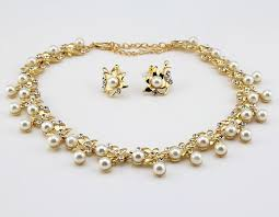 pearls necklace sets images Pearl necklace and earrings set in gold with cubic zirconia jpg