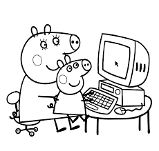 peppa pig mummy pig play computer colouring pages kids