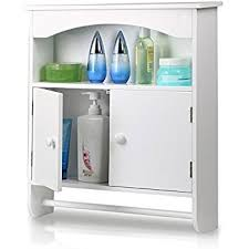 Bathroom Wall Mounted Cabinets Amazon Com Sauder Wall Cabinet Soft White Finish Kitchen U0026 Dining