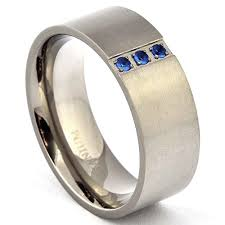 blue titanium wedding band titanium blue sapphire cubic zirconia wedding band