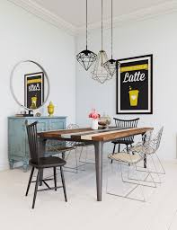 Dining Room Inspiration Scandinavian Dining Room Style With Whimsical Wall Decoration