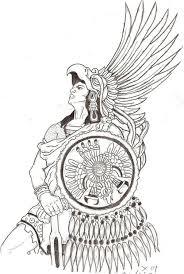 aztec warrior clipart mexican pencil and in color aztec warrior