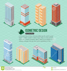 Real Estate Map Set Of 3d Isometric Tall Buildings Icons For Map Building Real