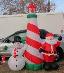 gemmy airblown inflatable christmas 8 u0027 lighthouse santa snowman