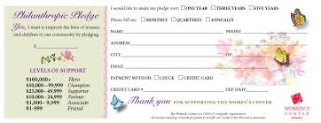 pledge cards template endowments women u0027s center