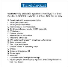 sample travel checklist 6 documents in pdfsample packing
