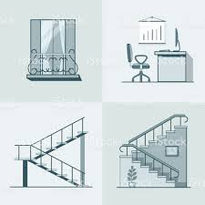 balcony office workplace ladder linear outline architecture