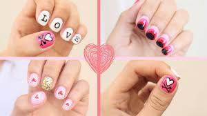 2016 valentine u0027s day nail art 3 easy designs youtube