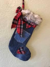 christmas stocking shabby chic denim stocking tartan