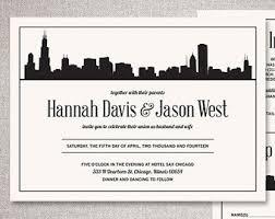 Wedding Invitations Chicago Skyline Invitations Etsy