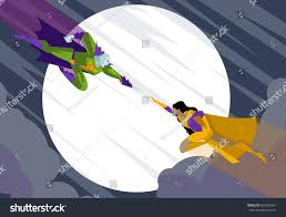 villa in the sky african superhero fighting villain sky stock vector 663002941