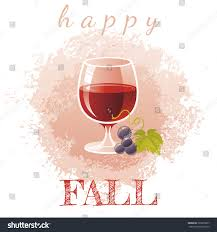 cartoon wine glass cartoon red wine glass grapes autumn stock vector 723835837