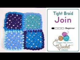 how to join crochet squares completely flat zipper method how to attach granny squares flat braid join youtube